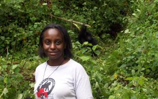 Gladys KZ with gorilla uganda